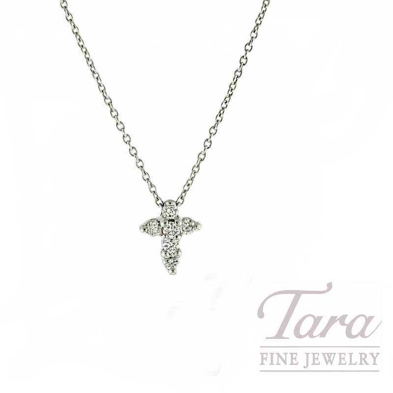 "Roberto Coin Diamond Pendant in 18kt White Gold, .11tdw ""Tiny Treasures Cross"""