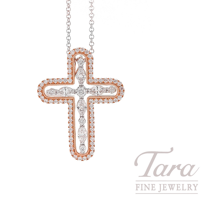 Simon G. Diamond Cross Pendant with Chain in 18K White & Rose Gold, .34TDW Rounds, .22TDW Marquise