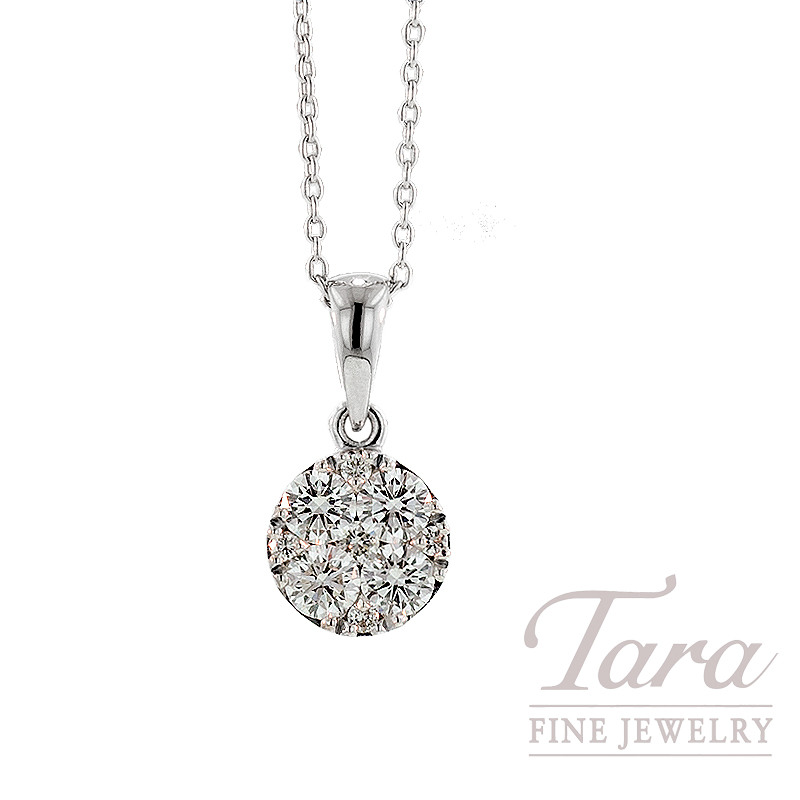 Diamond Pendant with Chain in 18K White Gold, .37TDW.