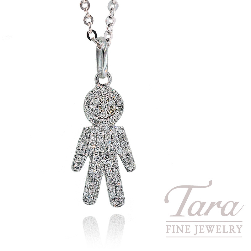 Diamond Boy Pendant with Chain in 18K White Gold, .22TDW