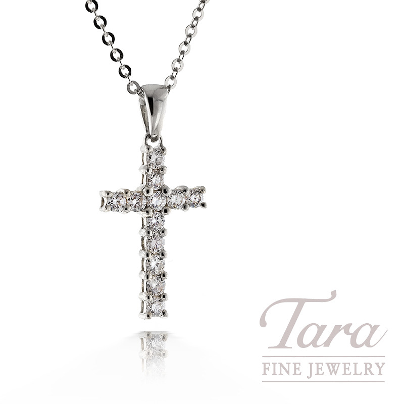 Diamond Cross Pendant in 18K White Gold, .25TDW, with Chain