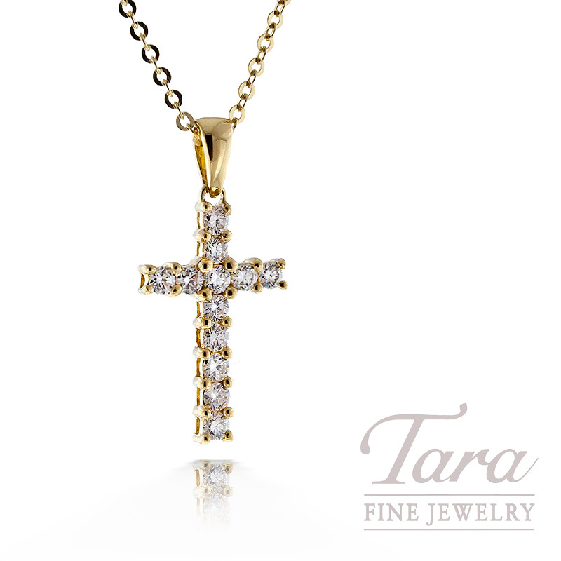 Diamond Cross Pendant in 18K Yellow Gold, .25TDW, With Chain