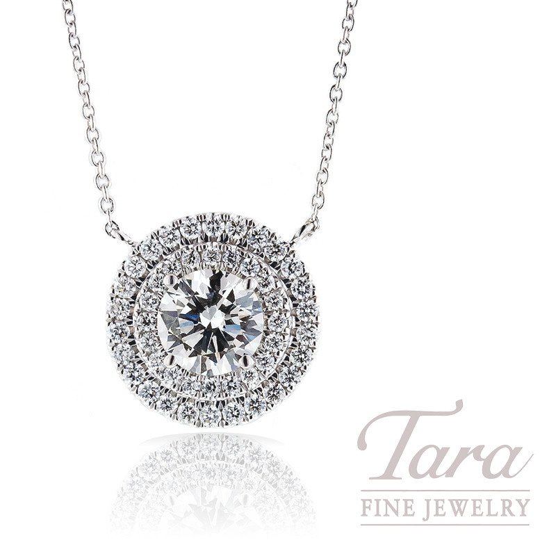 Forevermark Double Halo Pendant in 18k White Gold, 1.02CT Center, .38TDW Halo