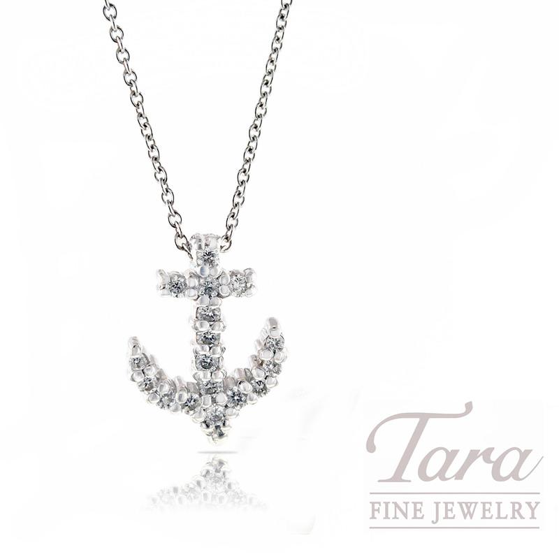 "Roberto Coin Diamond Pendant in 18k White Gold ""Tiny Treasures Anchor"""