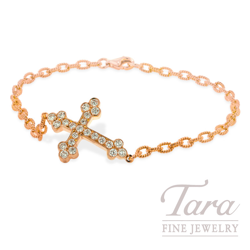 Norman Covan Diamond Cross Bracelet in 18K Rose Gold, .58 TDW