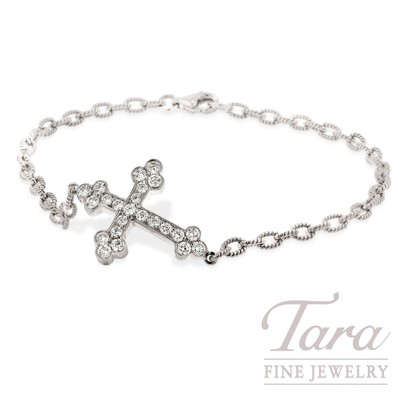 Norman Covan Diamond Cross Bracelet in 18K White Gold, .58 TDW