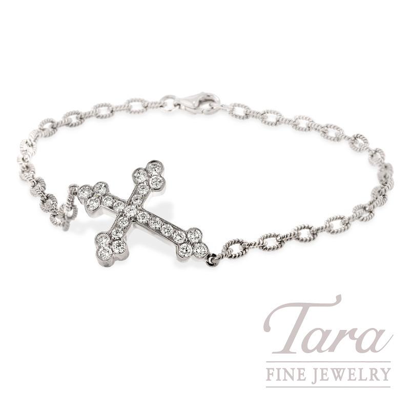 Norman Covan Diamond Cross Bracelet In 18k White Gold 58 Tdw