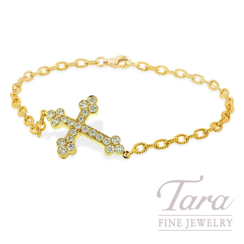 Norman Covan Diamond Cross Bracelet in 18K Yellow Gold, .58 TDW