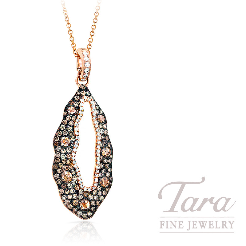 Norman Covan Champagne Diamond Pendant in 18K Rose Gold, 2.54 TDW