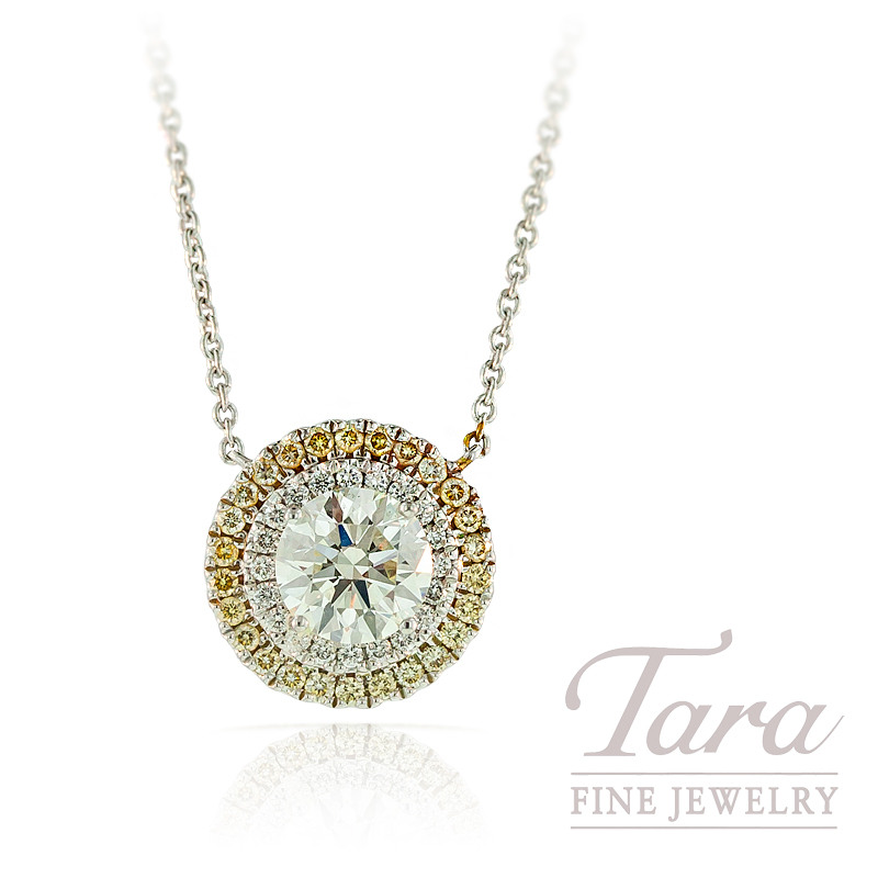 A. Jaffe Forevermark Diamond Pendant in 18K White Gold, .38tdw with 1.21ct Center