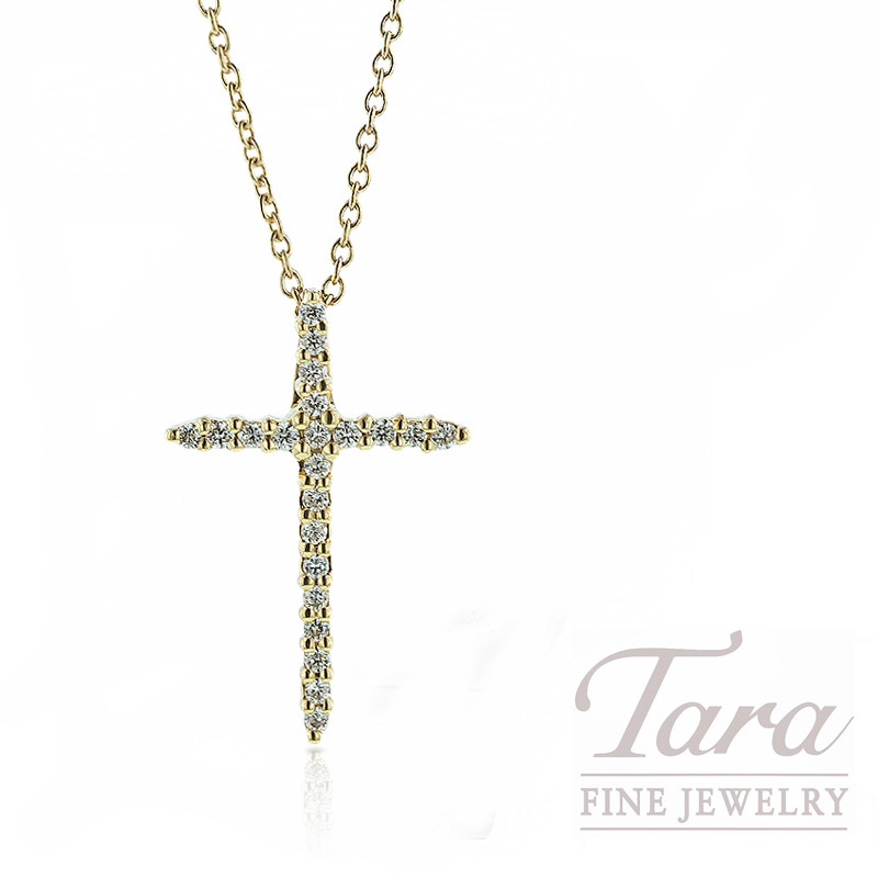 Roberto Coin Diamond Cross Necklace in 18K Yellow Gold, .10tdw with Chain