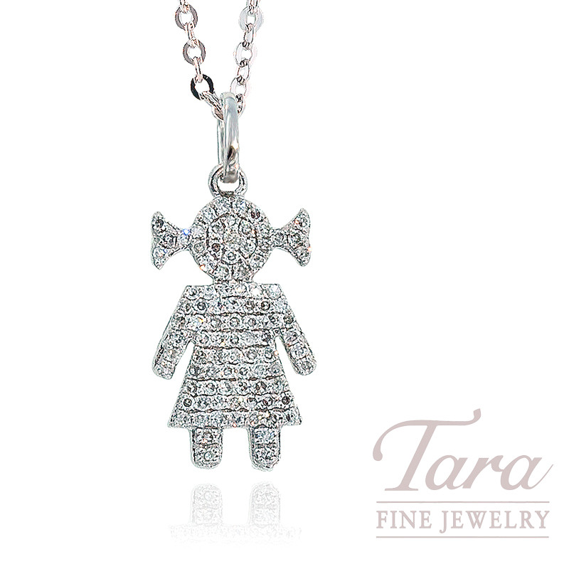 18k white gold diamond girl pendant with chain 11g 27tdw tara 18k white gold diamond girl pendant with chain 11g 27tdw aloadofball Images