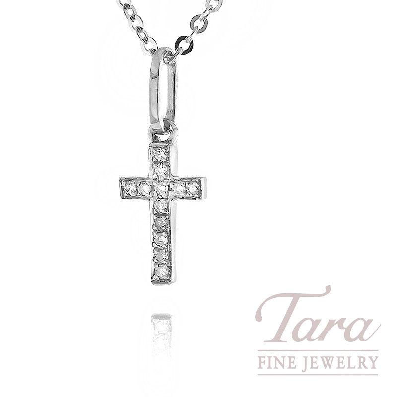 Diamond Cross Necklace in 18k White Gold