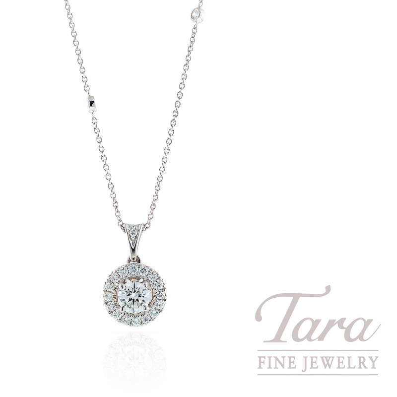 Forevermark Diamond Pendant with Halo in 18k White Gold .51CT Center, .35TDW Halo