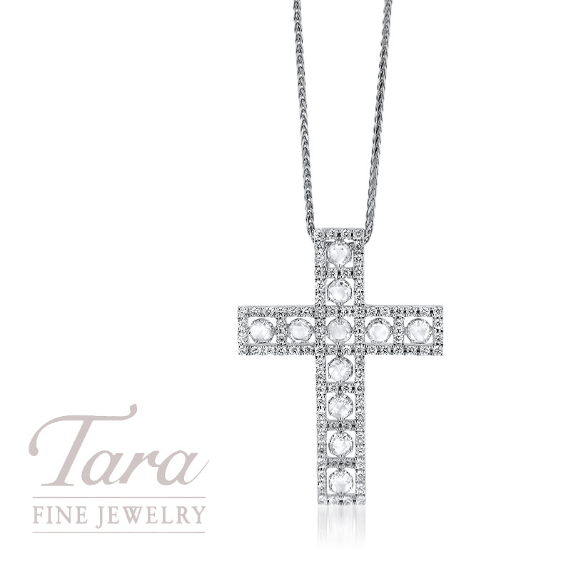 Diamond Cross Pendant with Chain in 18K White Gold, 1.00TDW Rounds, .94TDW Rose Cut Diamonds