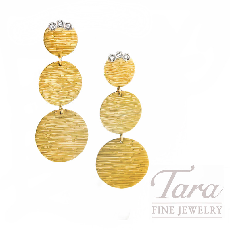 "Roberto Coin Three Tier Earrings in 18kt Yellow Gold, ""Elefantino Collection"""