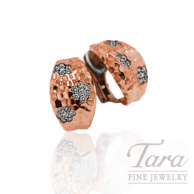 "Roberto Coin Diamond Earrings in 18kt Rose Gold, .96tdw ""Martellato Collection"""