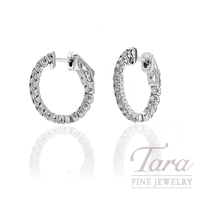 Diamond Hoop Earrings in 14K White Gold,  1.00 CT TW.