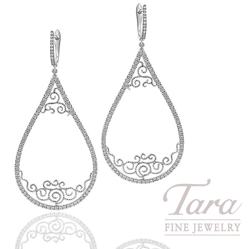 Diamond Earrings in 18K White Gold, 1.06 TDW