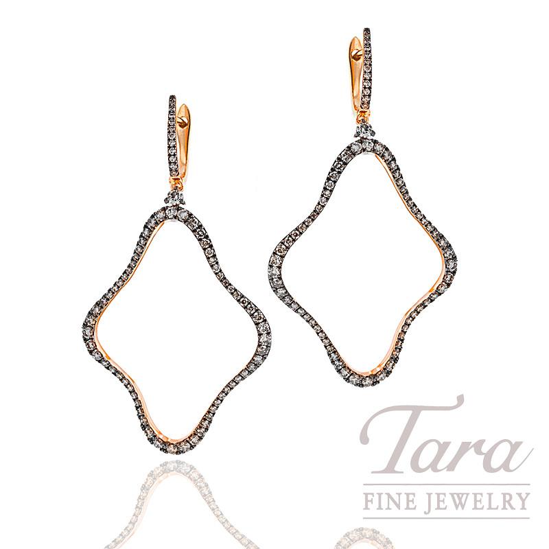 Champagne Diamond Earrings in 18K Rose Gold, 1.32 TDW