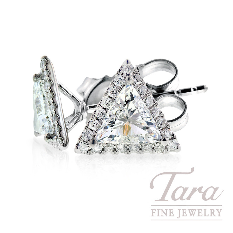 Diamond Earrings in 18k White Gold, .80 TDW Center and .22 TDW