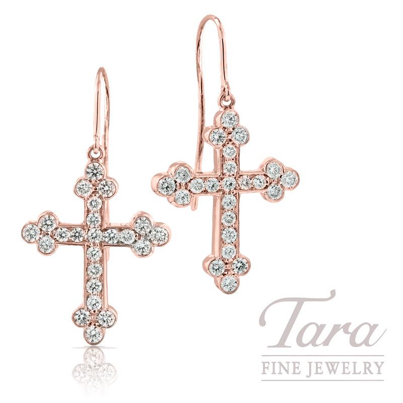 Norman Covan Diamond Cross Earrings in 18K Rose Gold, 1.16tdw