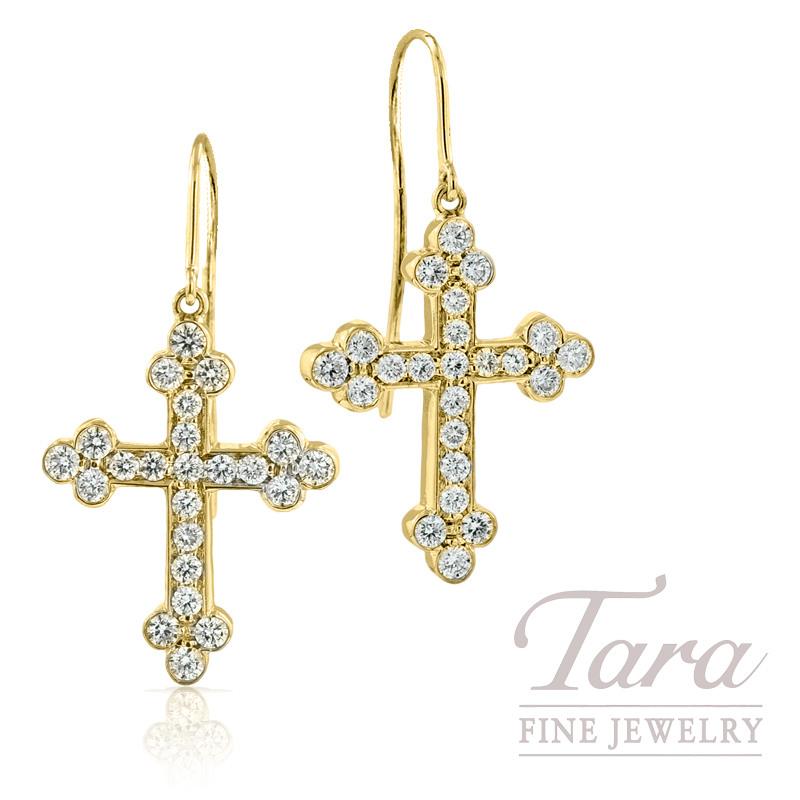 Norman Covan Diamond Cross Earrings in 18K Yellow Gold, 1.16tdw