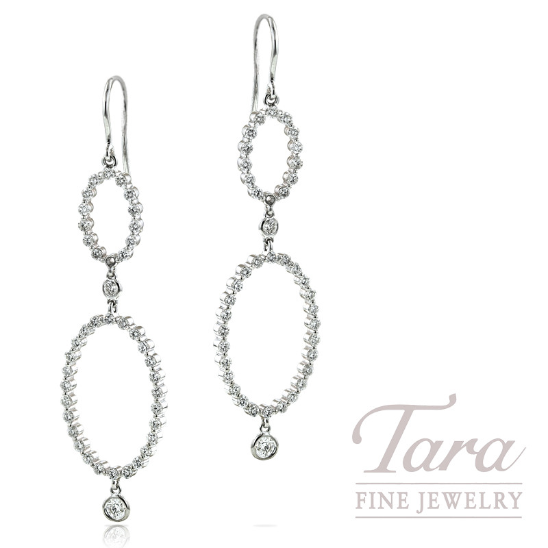 Norman Covan Diamond Earrings in 18K White Gold, 1.44tdw