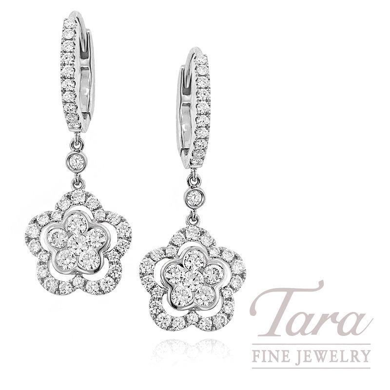 Diamond Earrings in 18k White Gold, 1.52 TDW