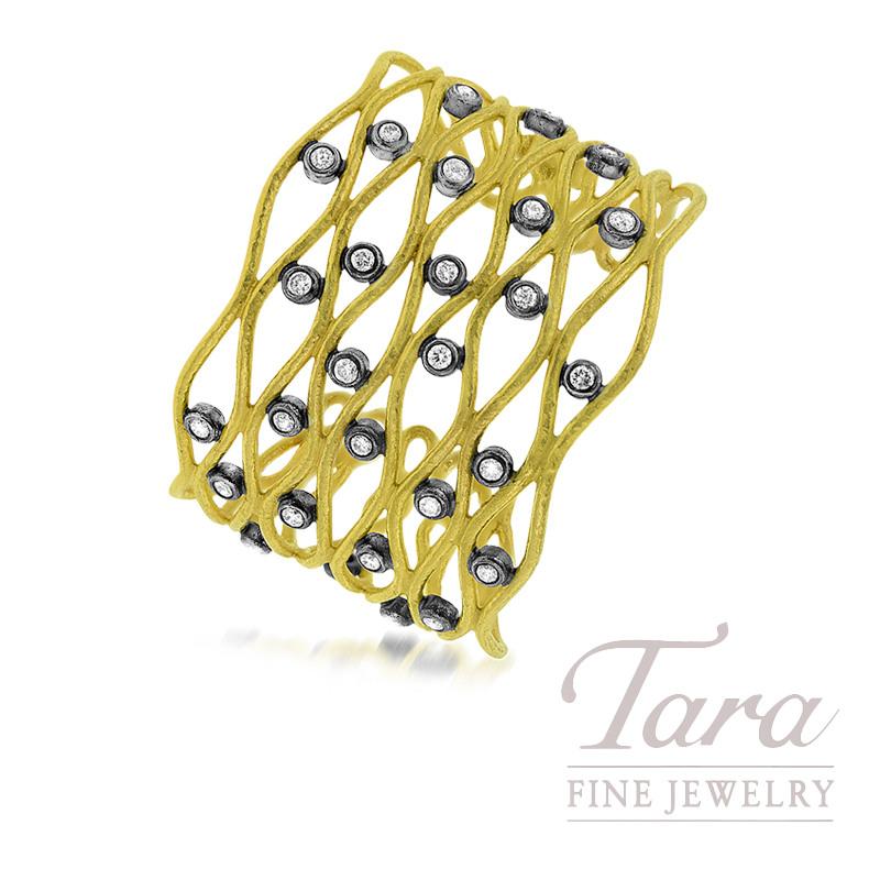 24K Yellow Gold Diamond Cuff Bracelet, 2.90TDW