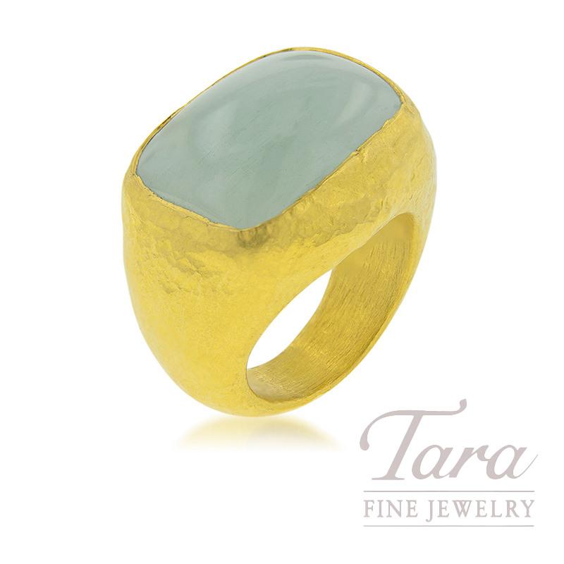 24K Yellow Gold Cabochon Aquamarine Fashion Ring, 15CT