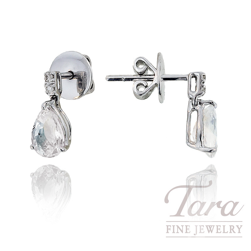 White Sapphire & Diamond Earrings in 18K White Gold, 1.80 CT TGW and .05 TDW