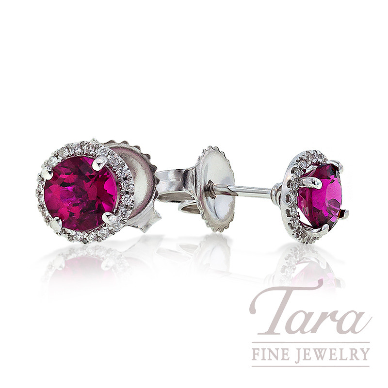 Pink Tourmaline & Diamond Earrings in 18K White Gold, .97 CT TW and .07TDW.