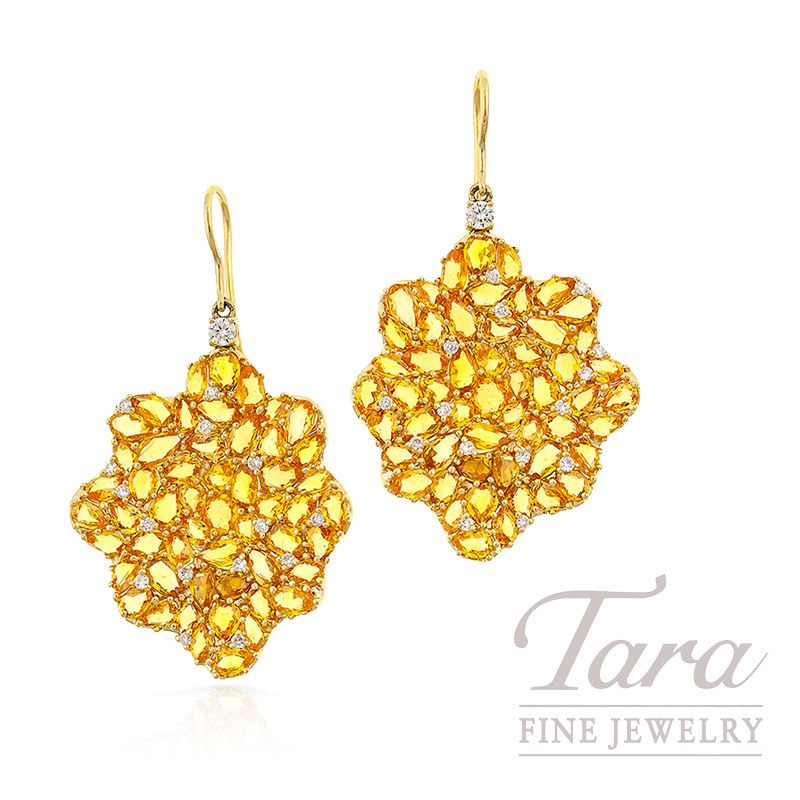 Yellow Sapphire and Diamond Earrings in 18k Yellow Gold, 21.80 CT TGW and .60 TDW