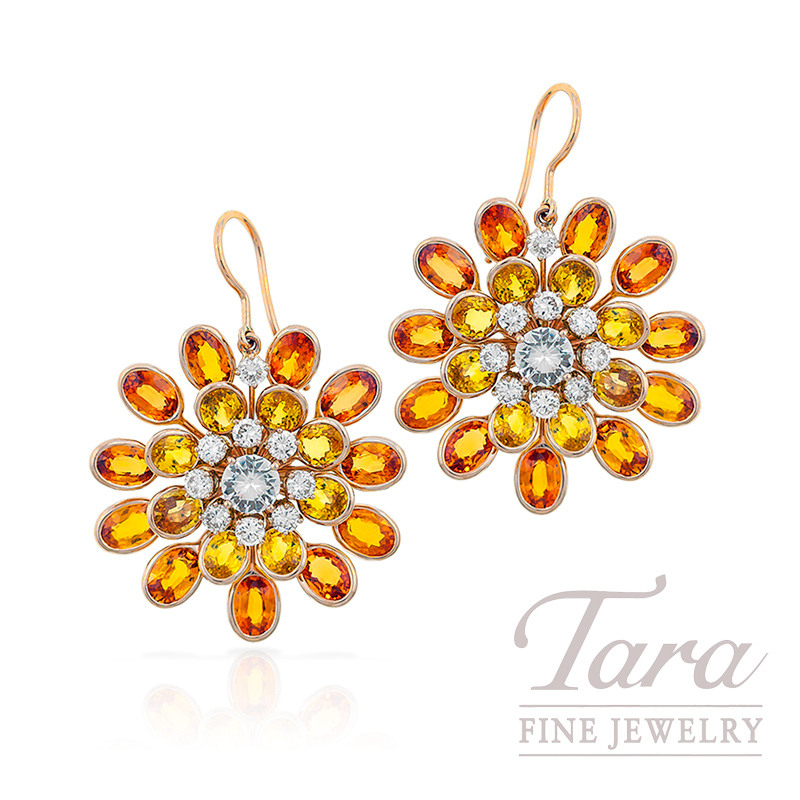 Yellow, Orange & White Sapphire and Diamond Earrings in 18k Rose Gold, 22.6 CT TGW and 1.6 TDW