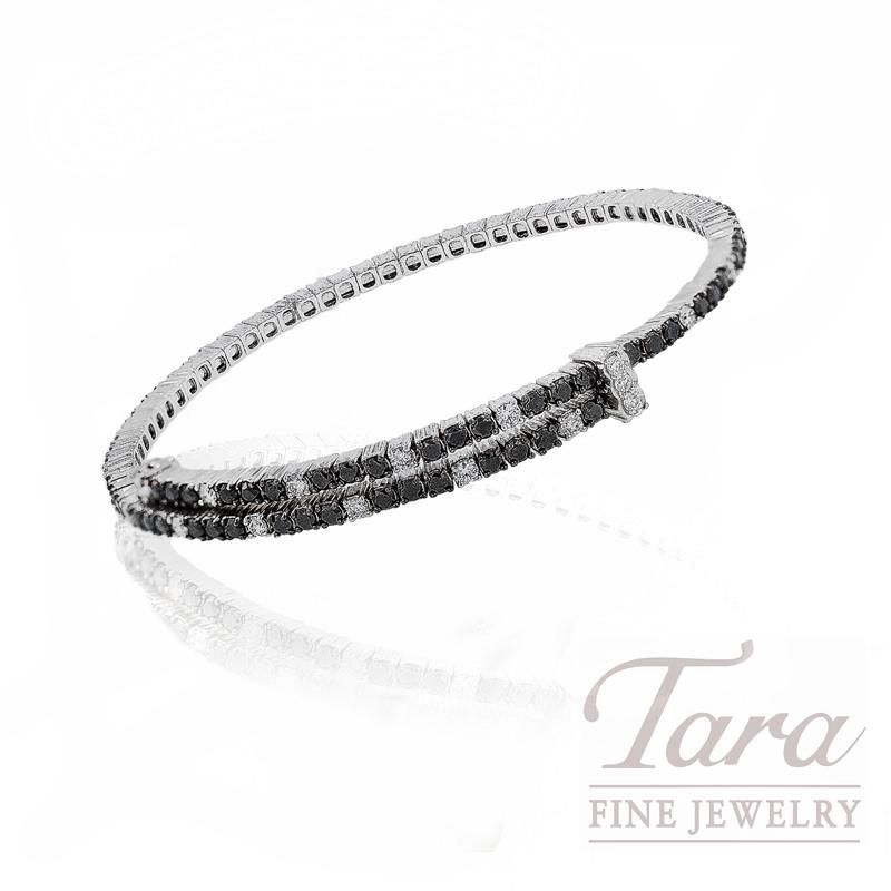 Roberto Coin Black and White Diamond Bracelet in 18kt White Gold,  3.2ctw
