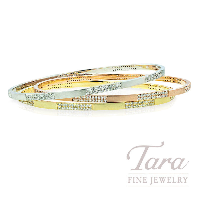Norman Covan Diamond Bangle Bracelet in 18K White, Yellow or Rose Gold, .96tdw