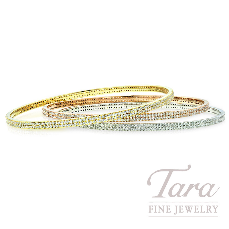 Norman Covan Double Row Diamond Bangle in 18K White, Yellow or Rose Gold, 1.91tdw