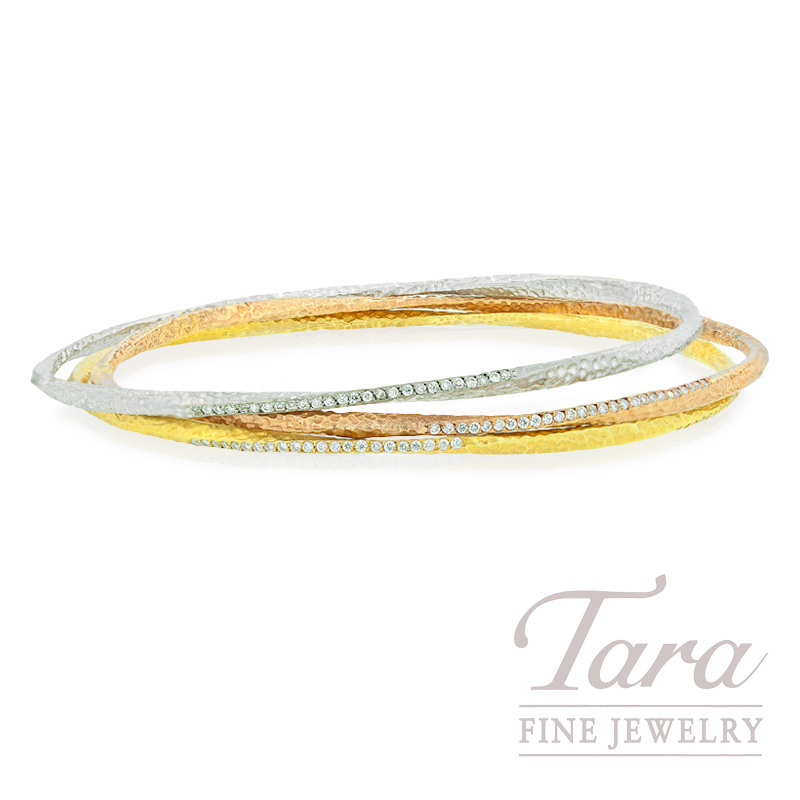Norman Covan Diamond Bangle in 18K White, Yellow or Rose Gold, .73tdw