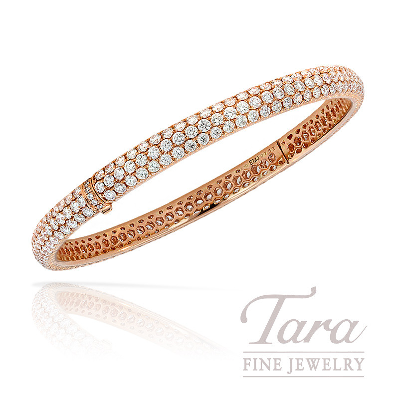 Diamond Bangle in 18K Rose Gold, 7.82 TDW