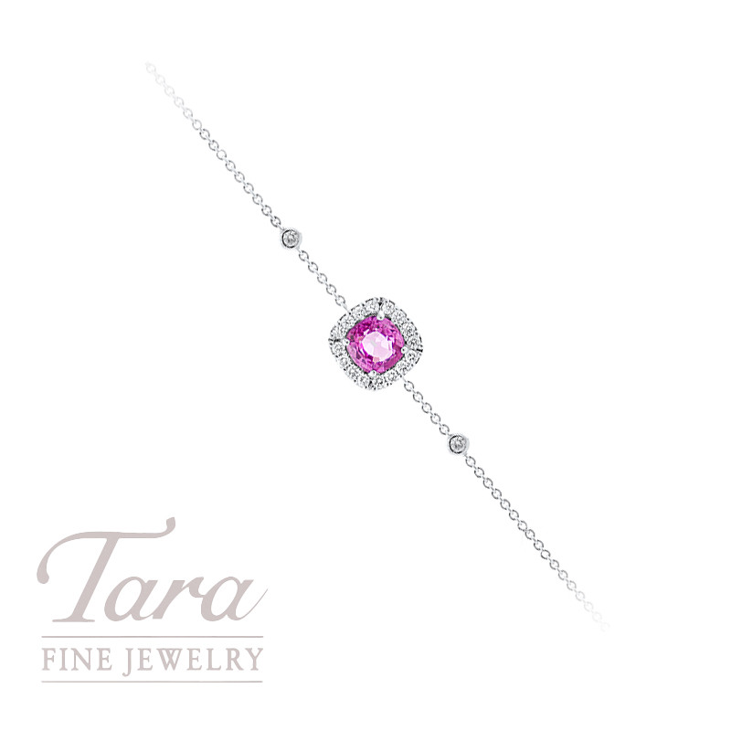 Pink Sapphire and Diamond Bracelet in 18K White Gold .93CT Pink Sapphire, .22TDW