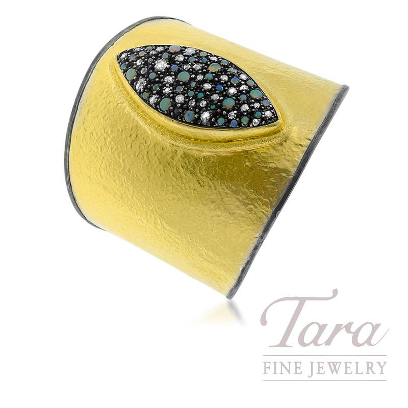 24K Yellow Gold Opal & Diamond Wide Cuff Bracelet, 1.40 Opal, 1.65TDW