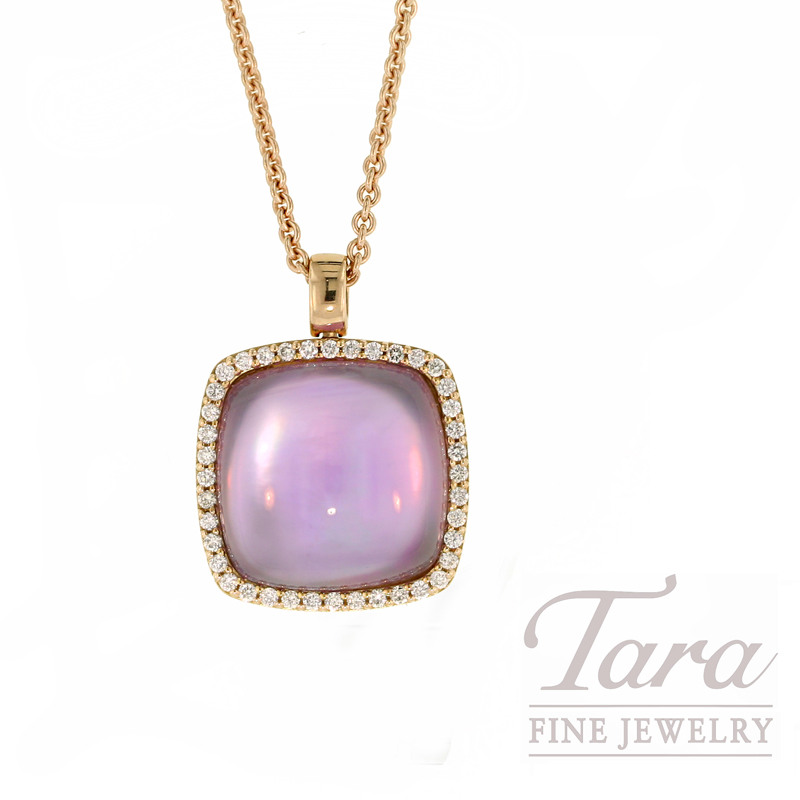Roberto Coin Amethyst and Diamond Pendant in 18k Rose Gold,  .30CT TDW.