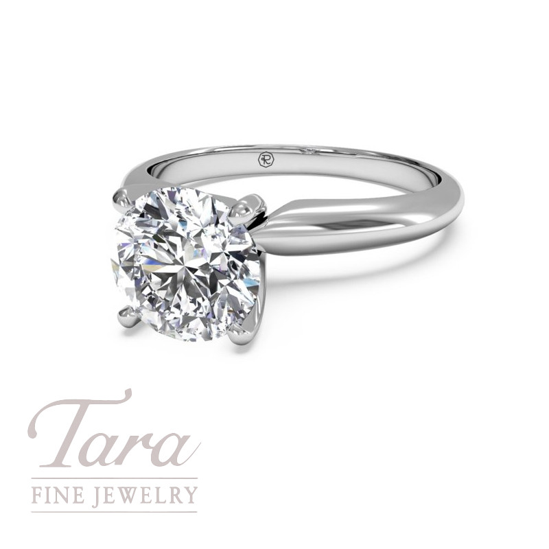 Solitaire Diamond Knife-Edge Engagement Ring in 18K White Gold (center stone sold separately)