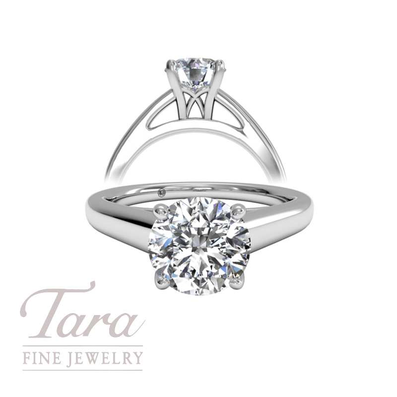 Solitaire Diamond Cathedral Engagement Ring in 18K White Gold (center stone sold separately)