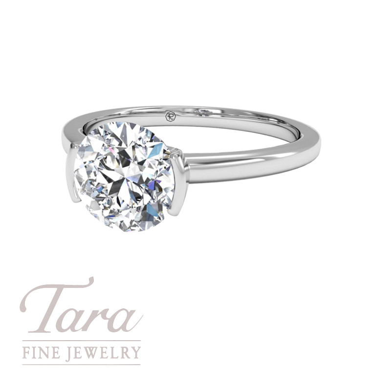 Modern Solitaire Semi-Bezel-Set Diamond Engagement ring in 18K White Gold (center stone sold separately)