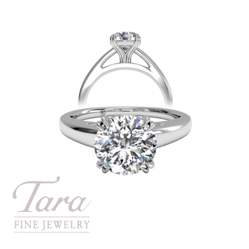 Solitaire Diamond Cathedral Tulip Engagement Ring in 18K White Gold (center stone sold separately)