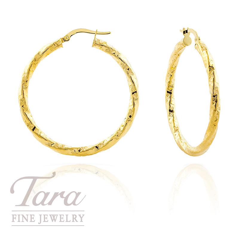 14k Yellow Gold Twist Diamond Cut Hoop Earrings