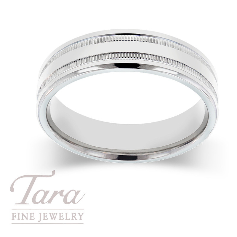 Men's Wedding Band in 14k White Gold, Size 10