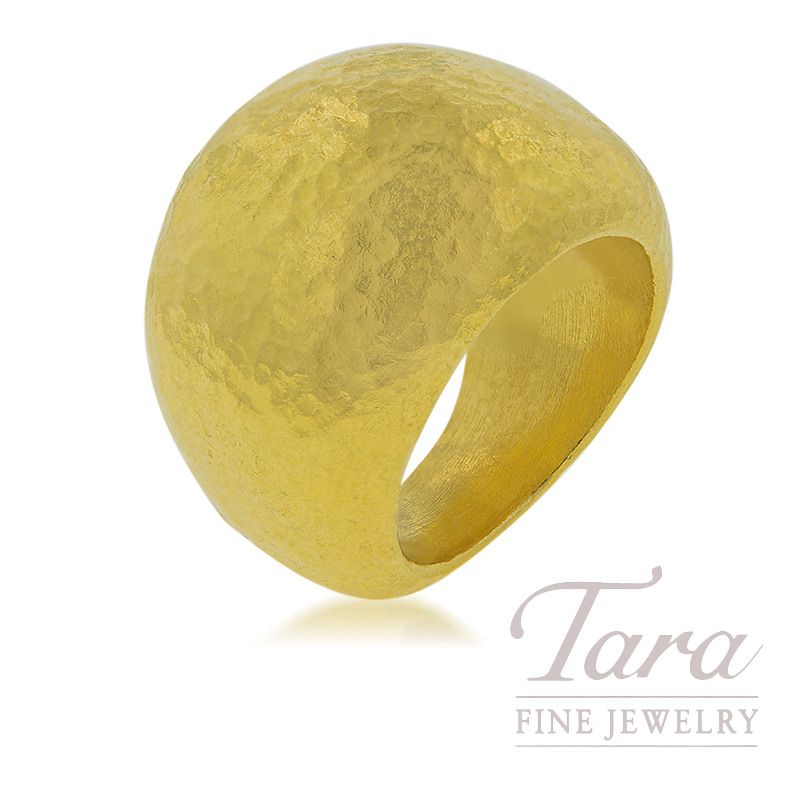 24K Yellow Gold Hammered Domed Fashion Ring, 12.9